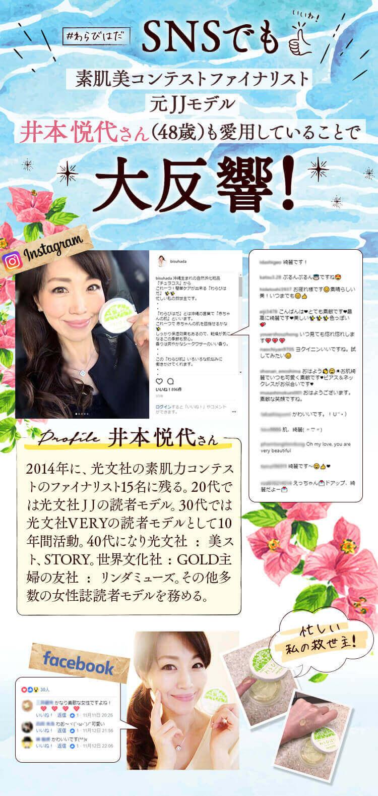 素肌美コンテストファイナリスト 元JJモデル井本悦代さん(48歳)も愛用していることで大反響!